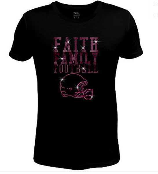 Bling Womens T Shirt Faith Family Football JRW-632-sc