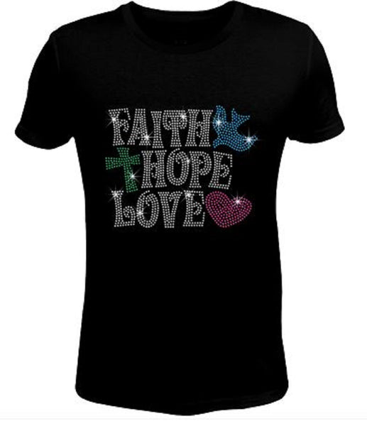 Bling Rhinestone Womens T Shirt Faith Hope / Love JRW-229-SC