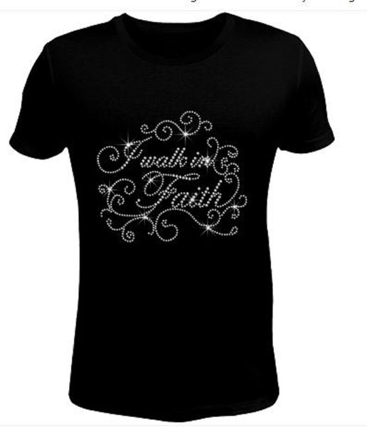 Bling Rhinestone Womens T Shirt I walk in faith JRW-233-SC