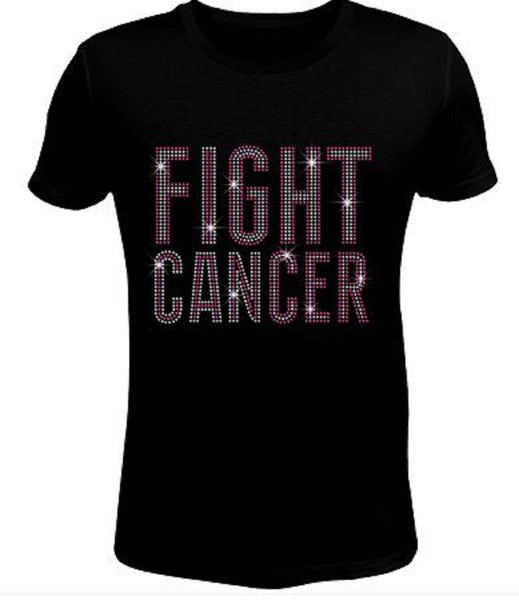 Rhinestone Womens T Shirt Breast Cancer Fight JRW-098