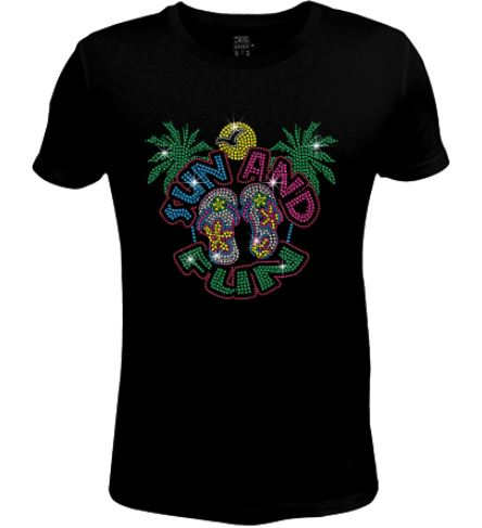 Bling Rhinestone Womens T Shirt Beach Sun & Fun- SC-BEA-099