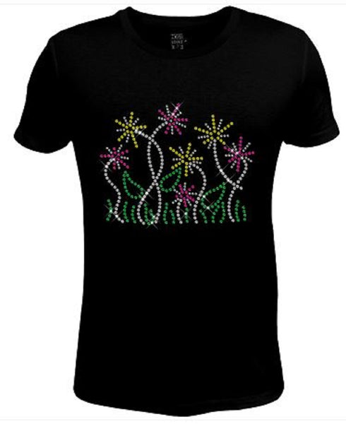 Rhinestone Womens T Shirt Flower Pattern JRW-606