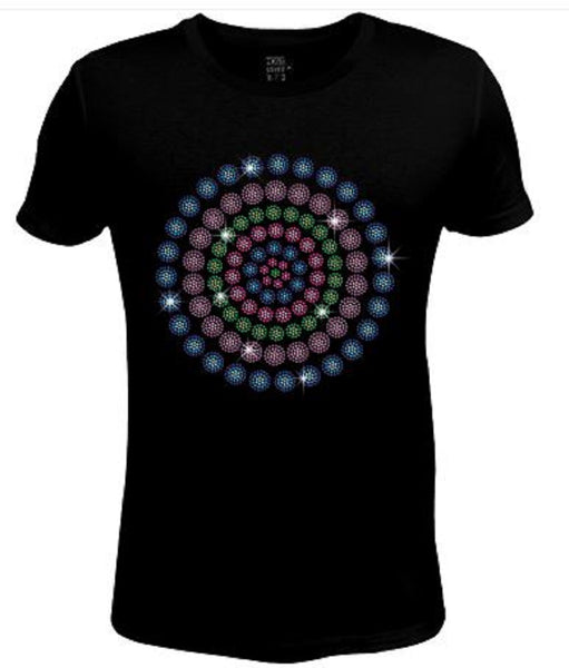 Rhinestone Womens T Shirt Flower in Concentric Circle JRW-576