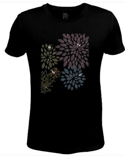 BLING Rhinestone Womens T Shirt Flower JRW-585