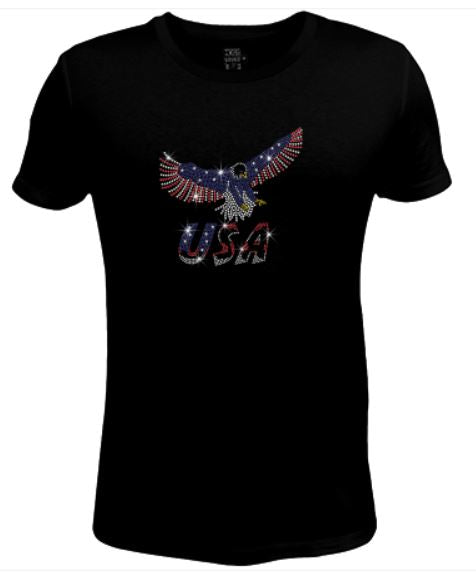 Bling Rhinestone Womens T Shirt Flying Eagle USA -IND-153 -SC