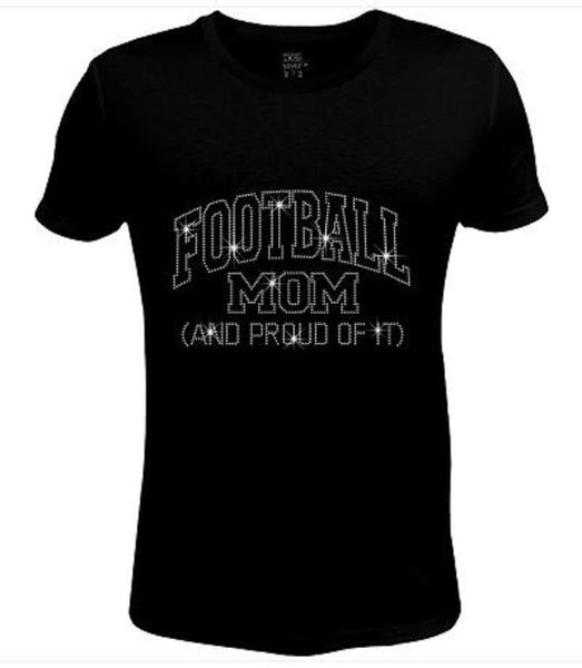 Bling Womens T Shirt Football Mom And Proud Football JRW-635-sc