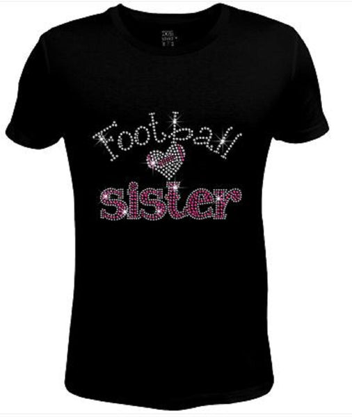 Bling Womens T Shirt Sister Love Football JRW-642-sc