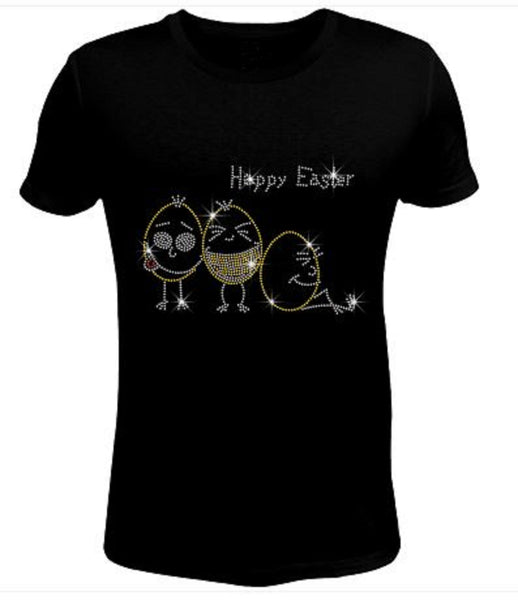 Bling Rhinestone Happy Easter Eggs T Shirt EAS-049-SC