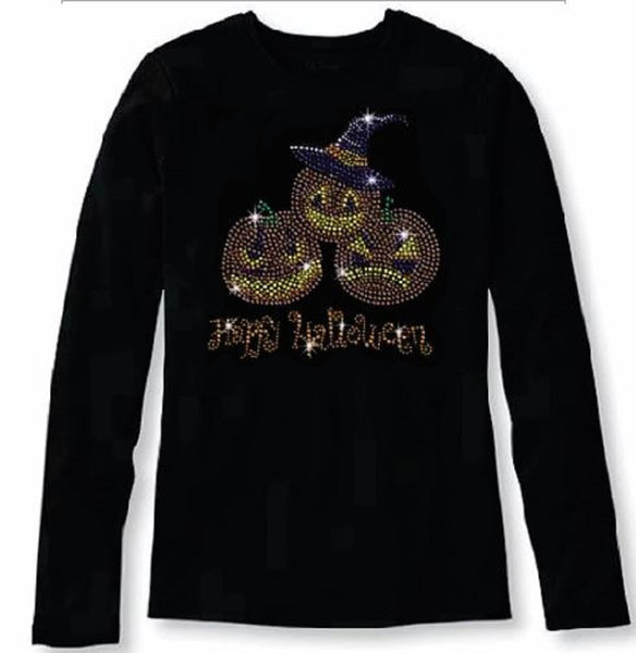 Bling Halloween with Funny Pumpkins Women's t Shirt HAL-127-LR