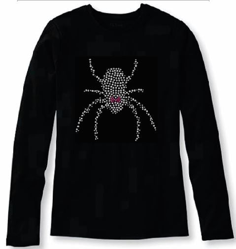 Bling Halloween Girly Black Widow Spider Crystal Women's t Shirt ANI-066-lr
