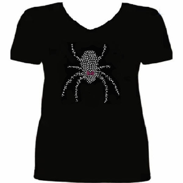 Bling Halloween Girly Black Widow Spider Crystal Women's t Shirt ANI-066-SV