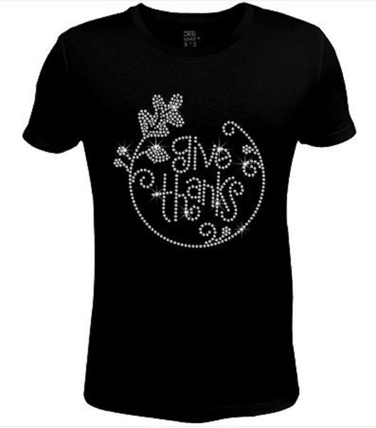 Bling Thanksgiving Give Thanks Women's t Shirt THD-050-SC