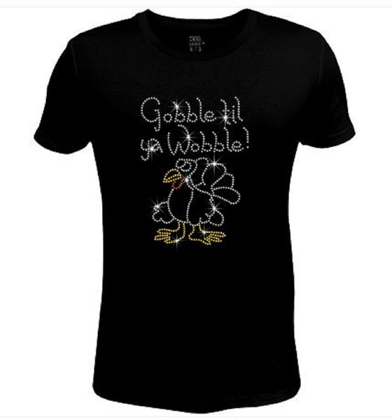 Bling Thanksgiving Gobble Till Ya Wobble Women's t Shirt THD-051-SC