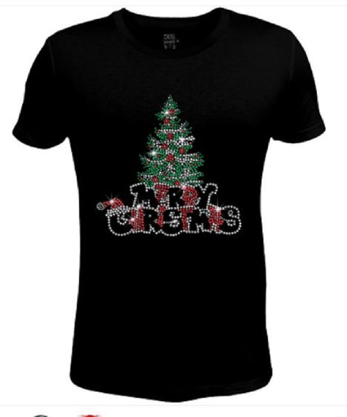 Bling Christmas Pine Tree Women's t shirt XMA-459-SC