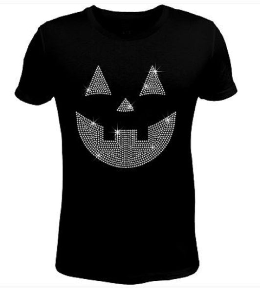 Bling Halloween Pumpkin Smile Women's t Shirt HAL-082-SC