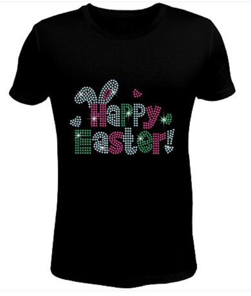 Bling Rhinestone Womens T Shirt Easter Happy JRW-068-SC