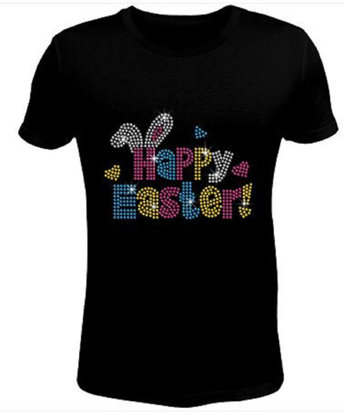 Bling Rhinestone Womens T Shirt Easter Happy Color JRW-069-C-SC