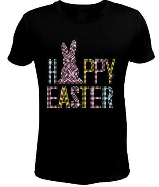 Bling Rhinestone Pink Easter Bunny T Shirt EAS-055-SC