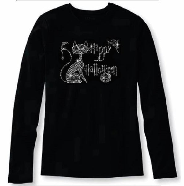 Bling Halloween with A Cute Kitty Women's t Shirt HAL-106-LR