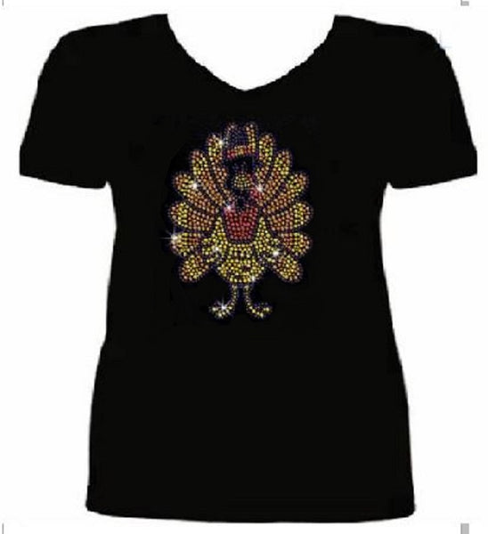 Bling Thanksgiving Turkey Women's t Shirt THD-053-SV