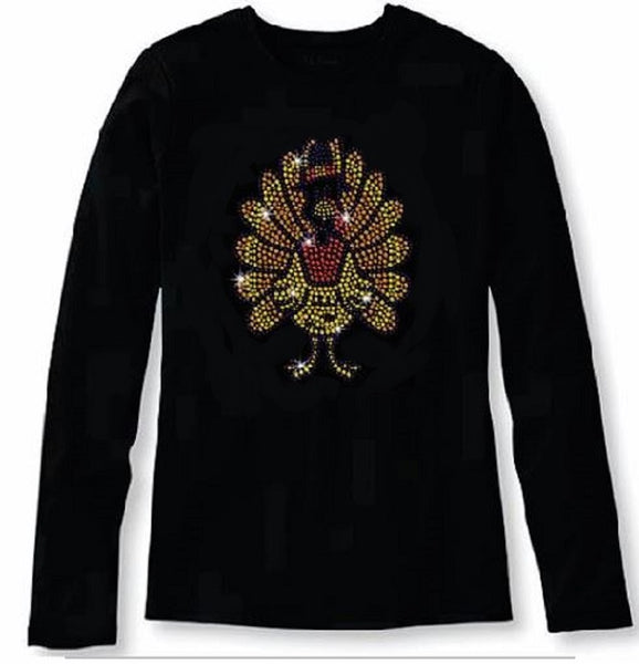 Bling Thanksgiving Turkey Women's t Shirt THD-053-LR