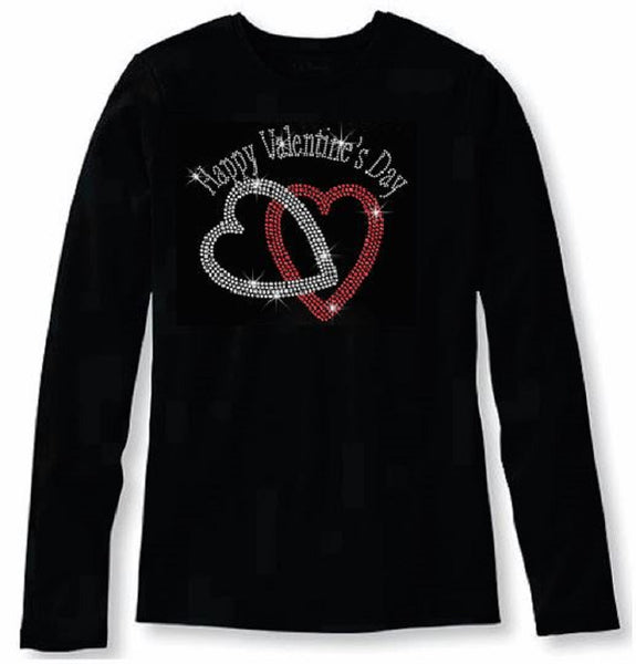 Bling Valentines Day Rhinestone Heart Shaped Rings Womens T Shirt VAL-198-LC
