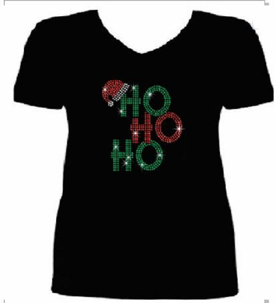 Bling Christmas Ho Ho Ho Women's t shirt              XMA-369-SV
