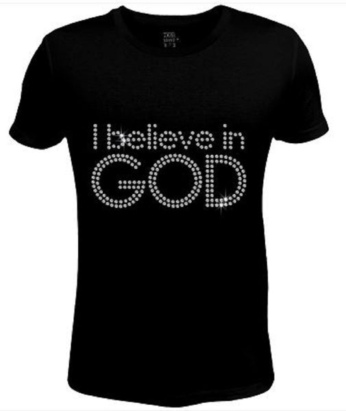 Bling Rhinestone Womens T Shirt I Believe In God JRW-242-SC