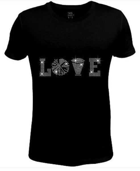 Bling Womens T Shirt I Love Cheer JRW-415-sc
