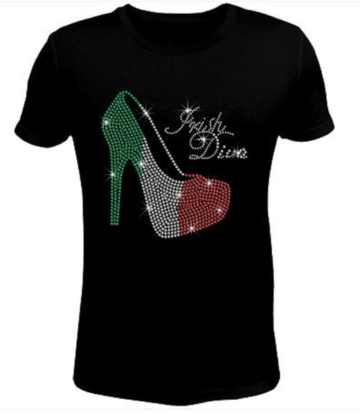 Bling Rhinestone Womens T Shirt Saint Patrick's Day Irish Diva High Heel  JRW-005-SC