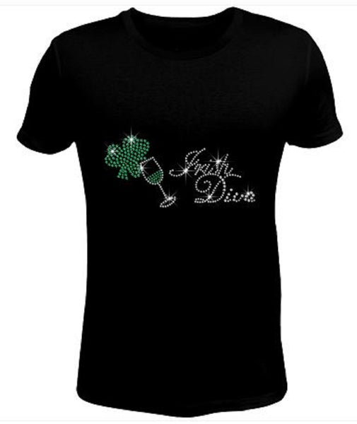Bling Rhinestone Womens T Shirt Saint Patrick's Day Irish Shamrock  JRW-010-SC