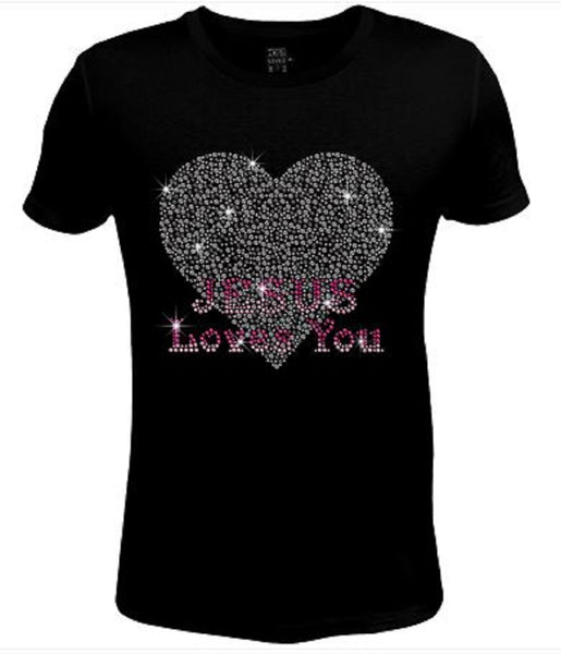 Bling Rhinestone Womens T Shirt Jesus Loves You JRW-241-SC