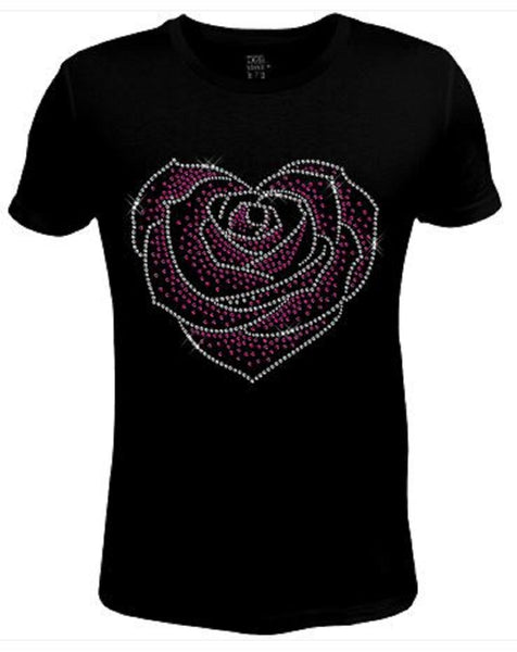 Rhinestone Womens T Shirt Elegant Rose Flower JRW-603