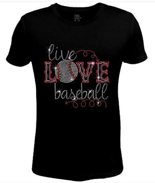 Bling Rhinestone Womens T Shirt Live Love Baseball JRW-4-B-sc