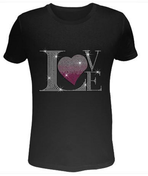 Bling Rhinestone Womens T Shirt Pink Heart & Crystal Love SC-ILO-037
