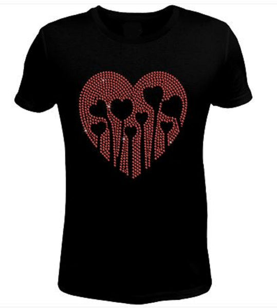 Bling Valentines Day Womens Love Grows T Shirt CHI-427-SC