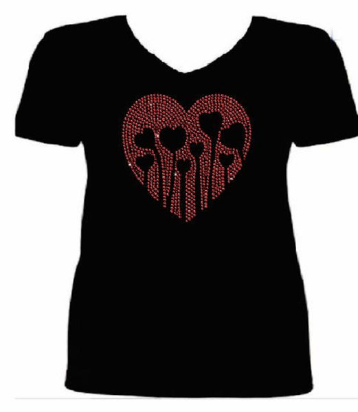 Bling Valentines Day Womens Love Grows T Shirt CHI-427-SV