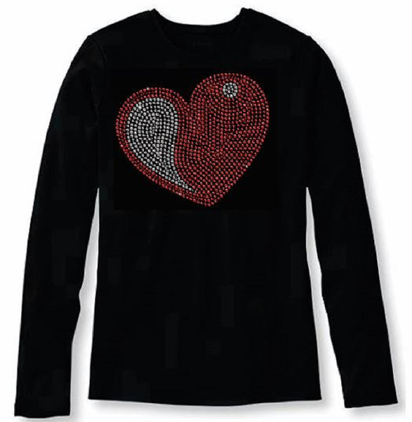 Bling Valentines Day Womens Red Heart T Shirt CHI-430-LC