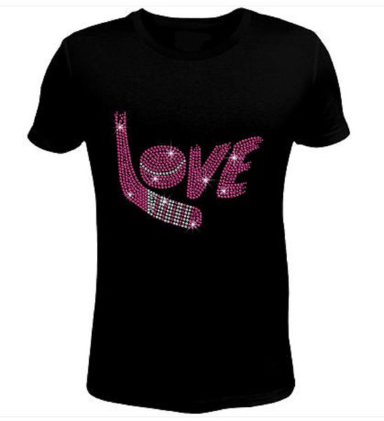 Bling Rhinestone Hockey Love T-Shirt-SC-SPO-1004