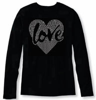 Bling Valentines Day Womens Love in My Heart T Shirt CHI-419-LC