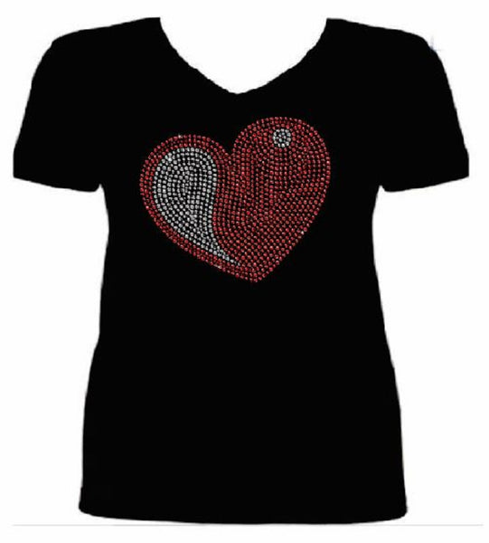 Bling Valentines Day Womens Red Heart T Shirt CHI-430-SV