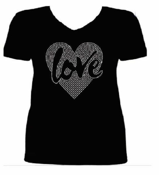 Bling Valentines Day Womens Love in My Heart T Shirt CHI-419-SV