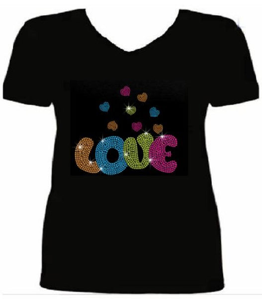 Bling Rhinestone Valentines Day Love with Many Hearts T Shirt                     VAL-216-SV