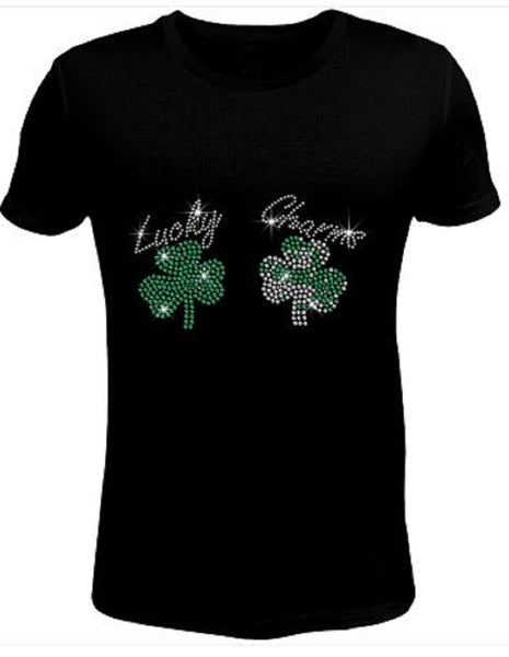 Bling Rhinestone Womens T Shirt Saint Patrick's Day Lucky Charming  JRW-012-SC