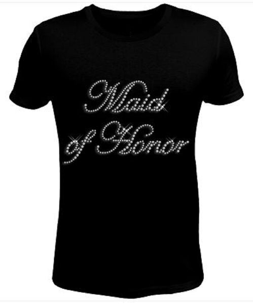 Bling Rhinestone Womens T Shirt Maid of Honor JRW-173-SC
