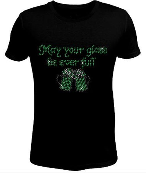 Bling Rhinestone Womens T Shirt Saint Patrick's Day May Your  JRW-021-SC