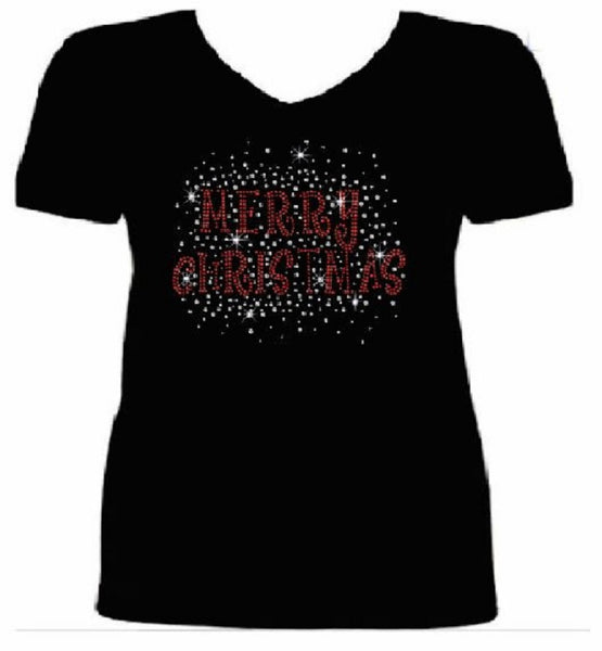 Bling Merry Christmas Women's t shirt                               XMA-330-SV