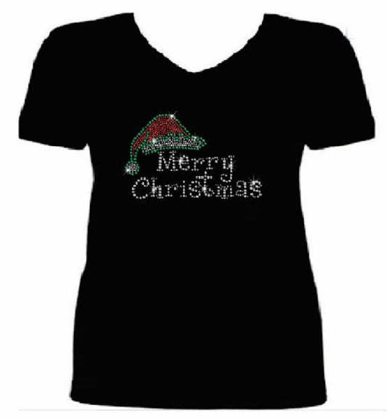 Bling Christmas Santa Hat Women's t shirt XMA-321-SV