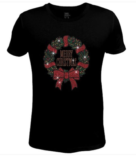 Bling Christmas Wreath Women's t shirt XMA-465-SC