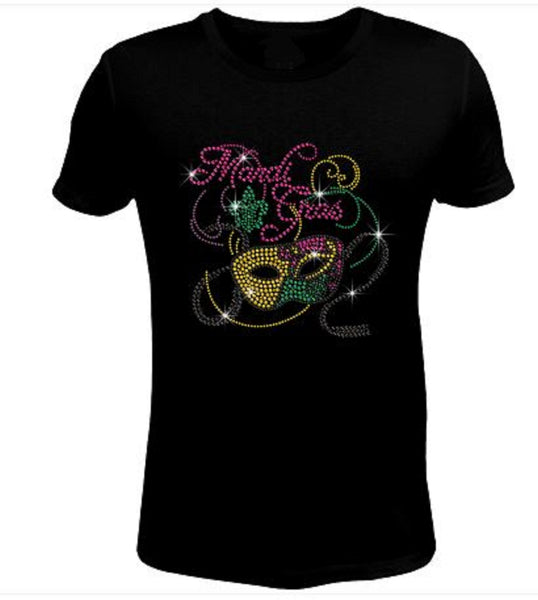 Bling Rhinestone Cute Mardi Gras Party T-Shirt-SC-MSK-036